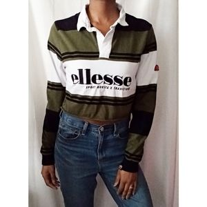 Ellesse Green Striped Cropped Polo 787